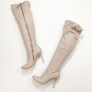 valentino • nude bow topped over the knee boot 41